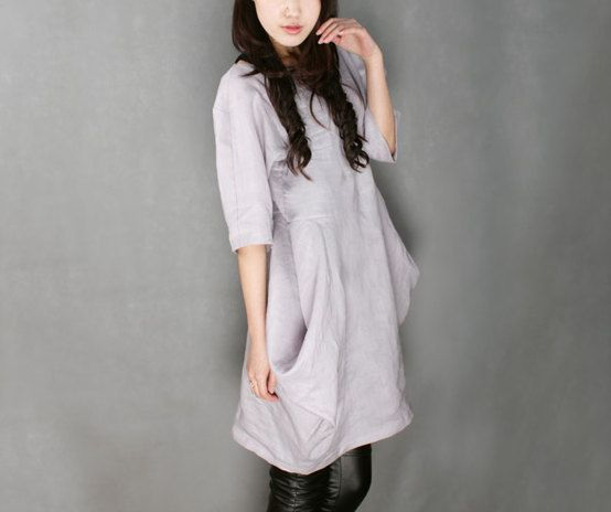 unique linen dress one piece casual loose dress by TheMysteryQueen