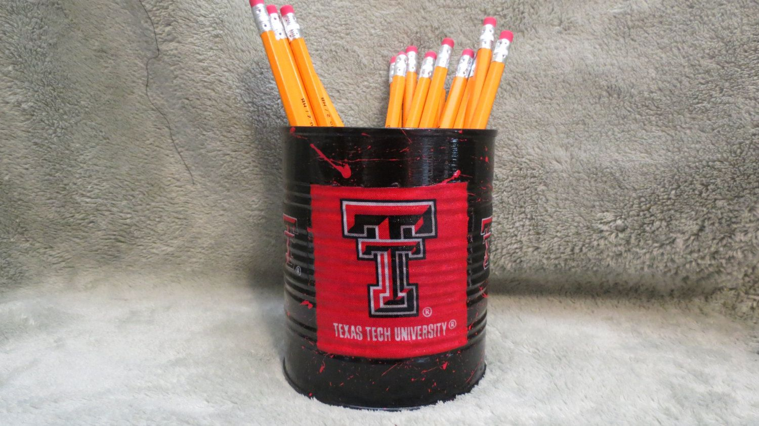 TEXAS TECH RAIDERS Can Holder/Pencils/Pens/Brushes/Flowers/Candy/Money/Gift Holder by KreationsGalore on Etsy