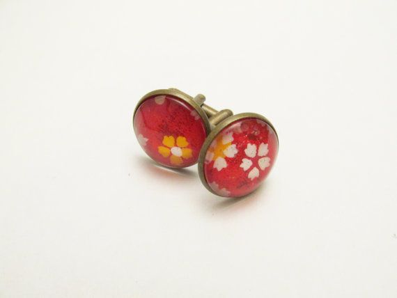 Glass cabochon cuff links- Bright, Bold Red Washi Paper (with white, yellow, pink cherry blossoms) Japanese- 18mm (0.71in) Imogen Wilson Jewellery -Etsy https://www.etsy.com/shop/findimogenwilson