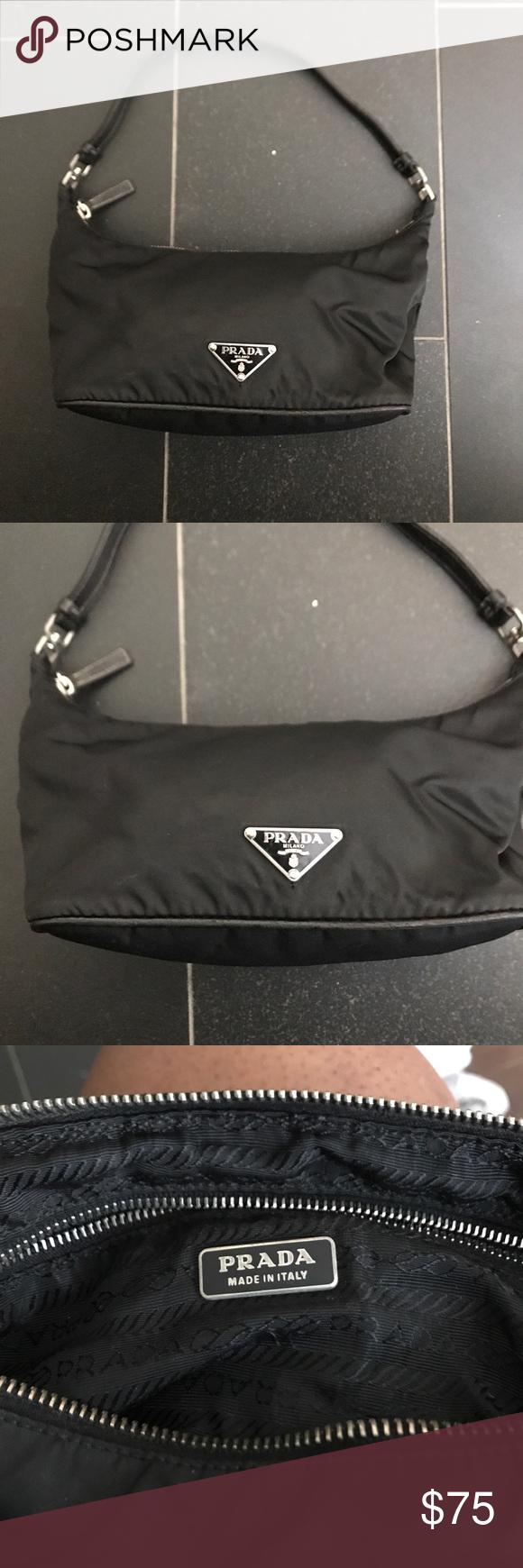 57ecdedb4aa192 PRADA Mini Hobo Bag Great condition PRADA Tessuto black nylon mini Hobo bag  with leather trim
