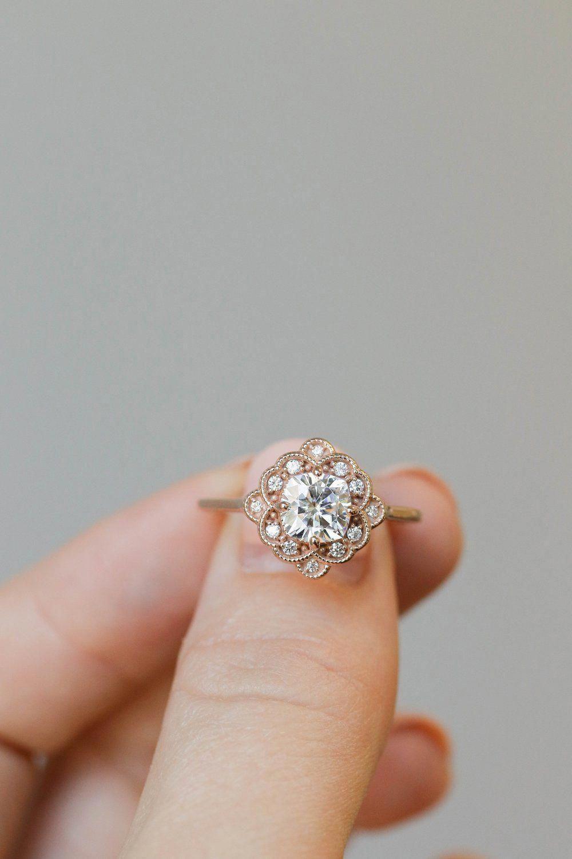 Nature Inspired Topaz Engagement Ring 14K White Gold Halo Ring Topaz Floral Engagement Ring - Fine Jewelry Ideas        #realengagementrings #14k #engagement #Fine #Floral #Gold #Halo #Ideas #Inspired #Jewelry #Nature #Ring #topaz #Verlobungsringe #White