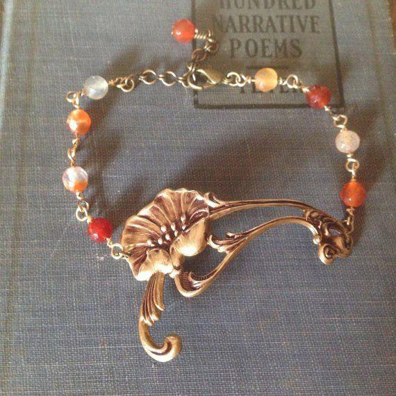 Art Nouveau Inspired California Poppy By Mason Larose: Poppy Bracelet -Red, Flower, Romantic, Tattoo, Steampunk