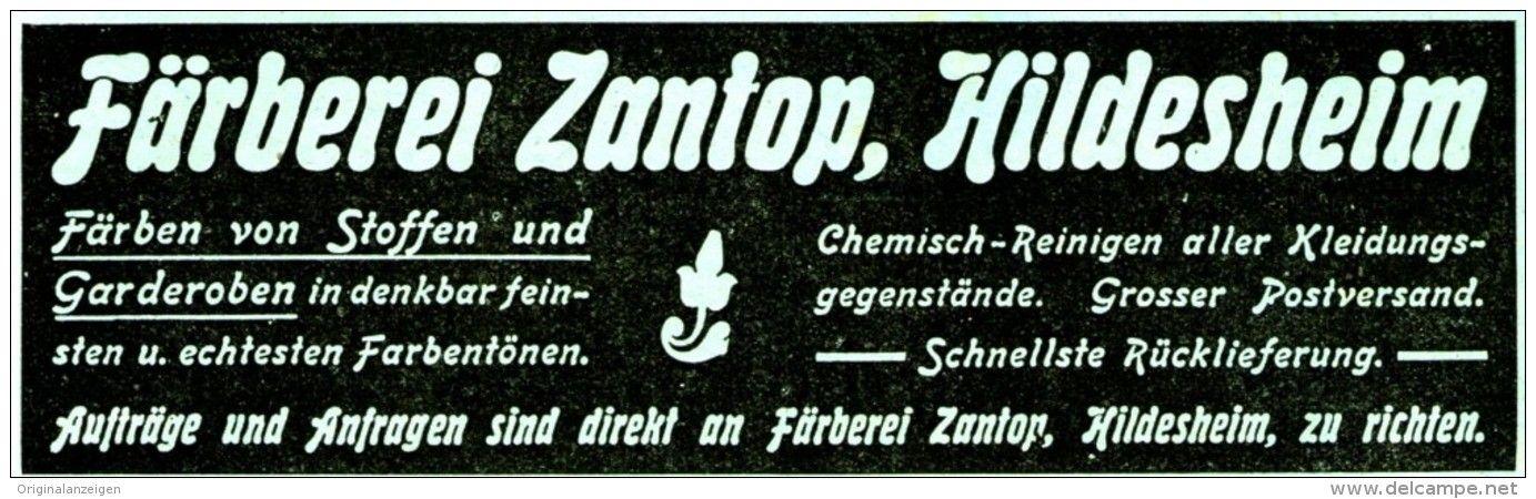 Original Werbung Anzeige 1920 Farberei Zantop Hildesheim Ca