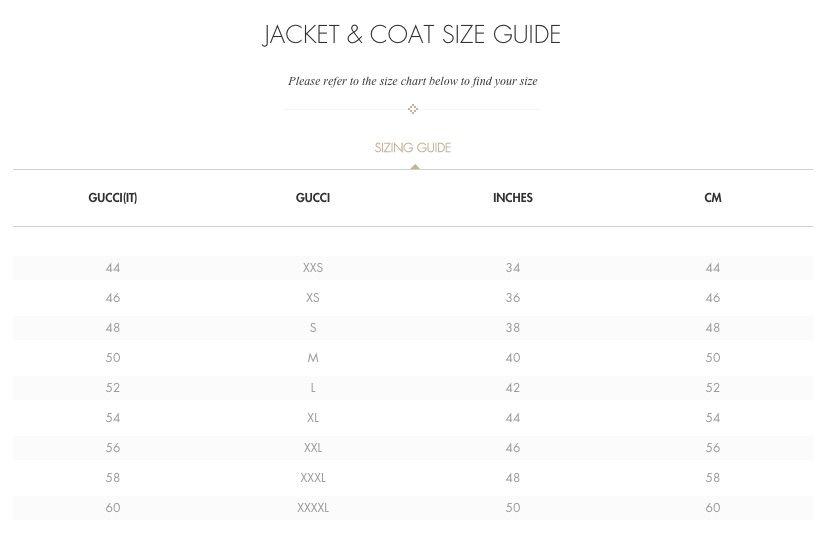 Gucci Size Chart