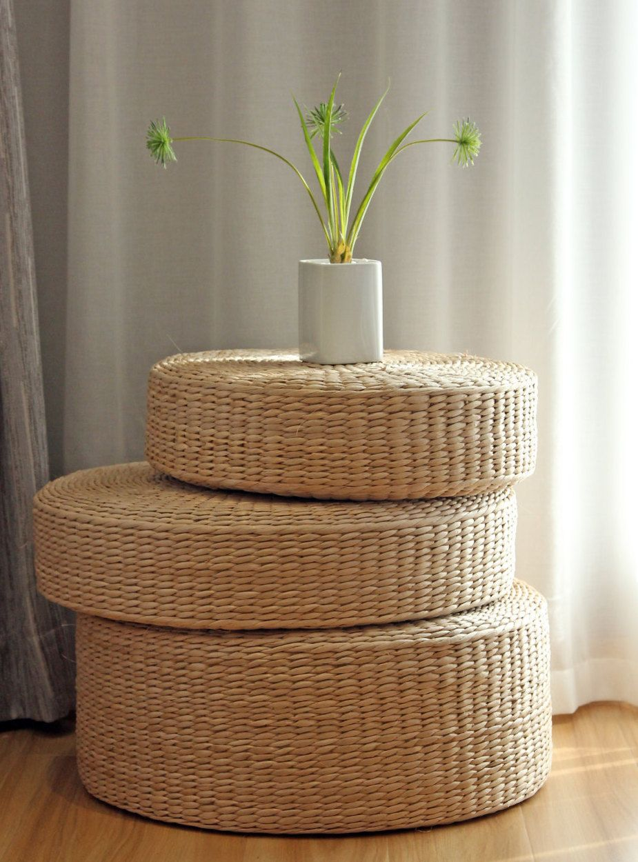 Pouffe Ikea Rustic Floor Cushions Straw Floor Pouf Gift For Moms Pouf Ottoman