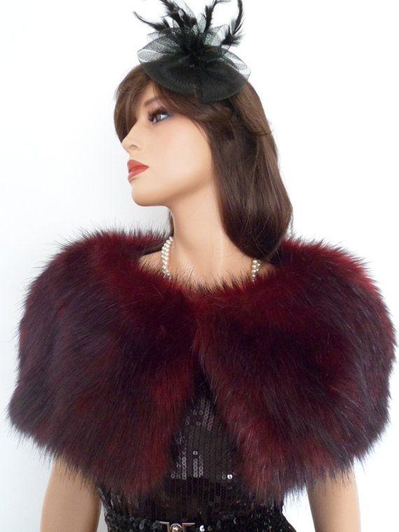 10b18e3cb1 SALE/wine fur capelet, burgundy fur stole, fake fur wrap, shrug, shawl,  stole, red black fur