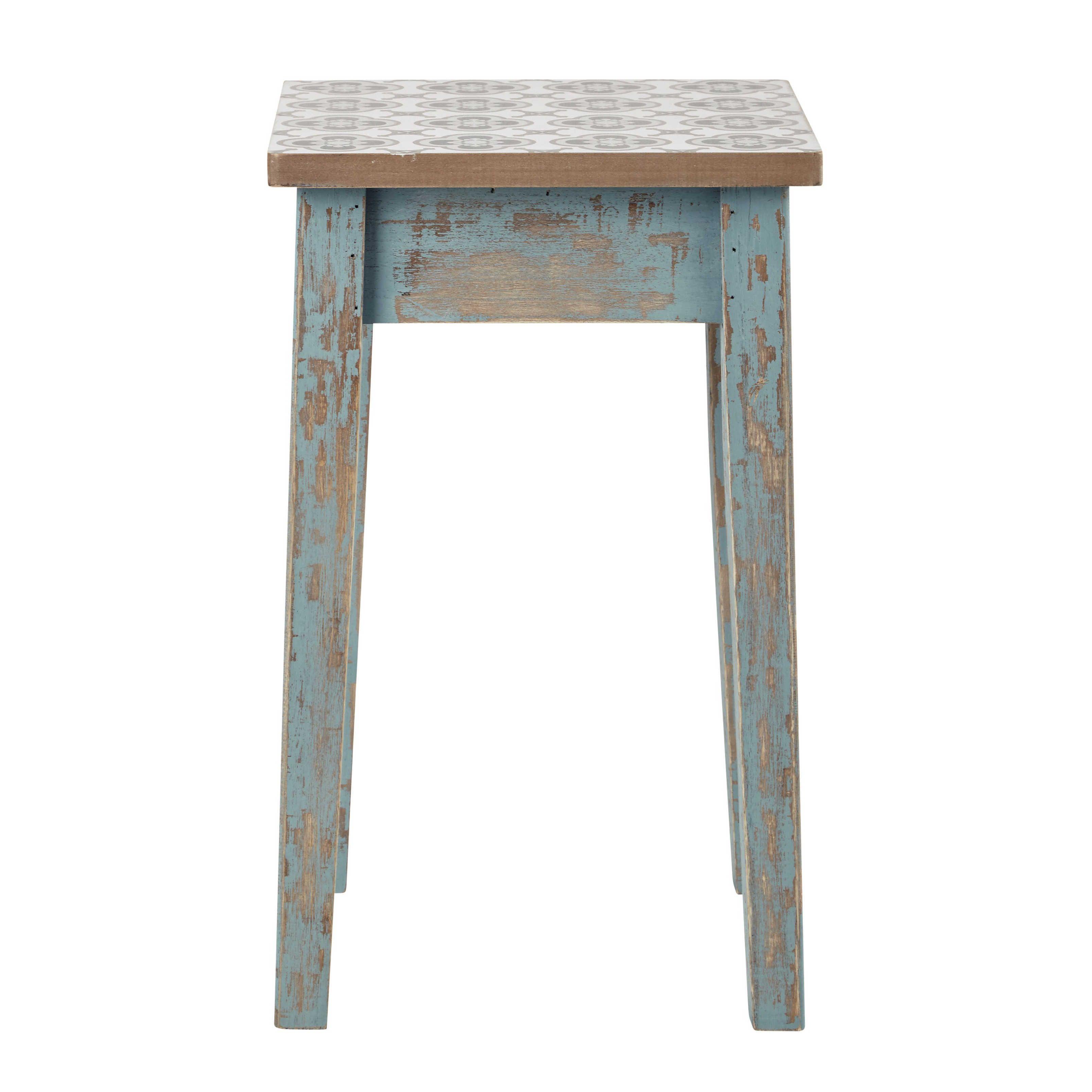 Hocker Aus Patiniertem Holz, Blau