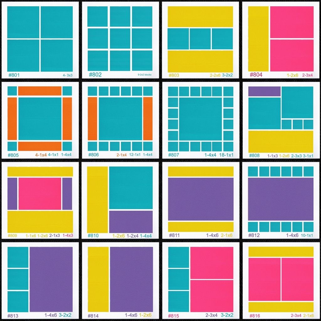 How to scrapbook 8x8 layouts - 8x8 Page Designs Set Of 16 Patterns For Creating Multiple Page Albums