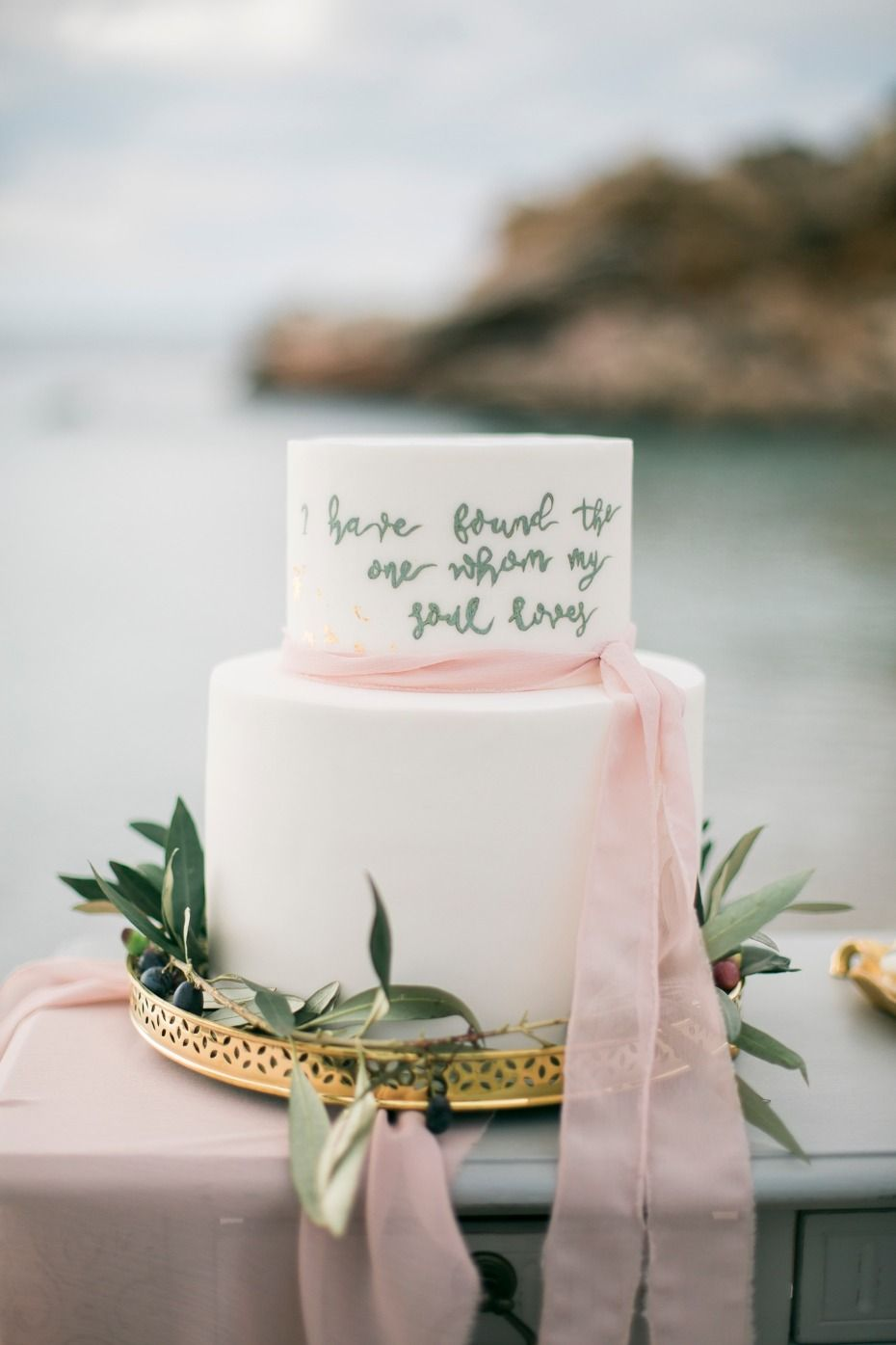 Elegant Meets Organic By The Sea Wedding Inspiration In Greece Sea Wedding Classic Wedding Cake Hawaiian Wedding Themes