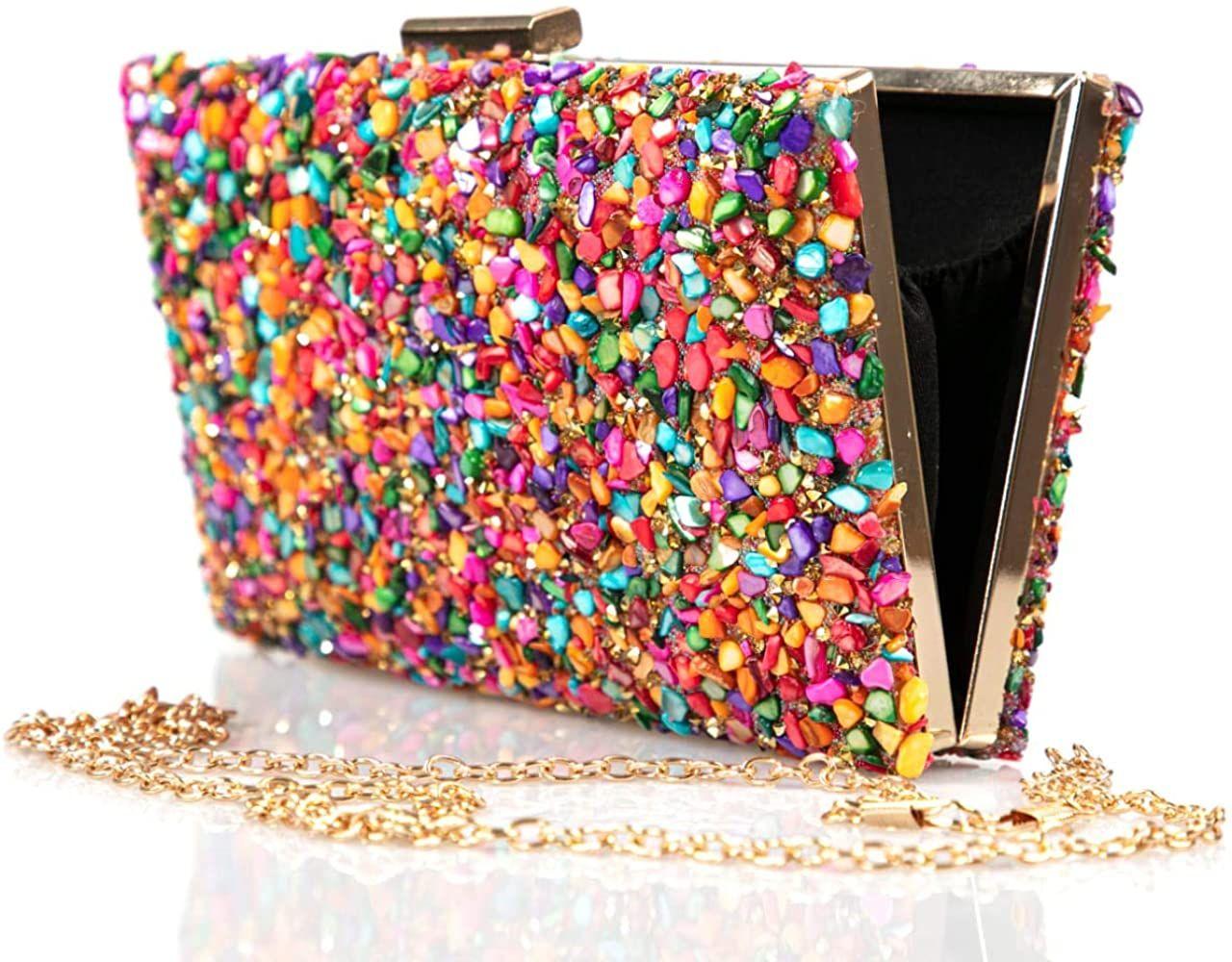 Complementos La Monsita Bolso Cartera De Fiesta Multicolor Con Cadena Amazon Es Ropa Y Accesorios Carteras De Fiesta Bolsos Cartera Bolso