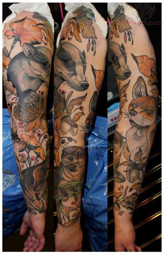 Pin By Kennedy Pruett On Tattoos Animal Sleeve Tattoo Autumn Tattoo Nature Tattoo Sleeve