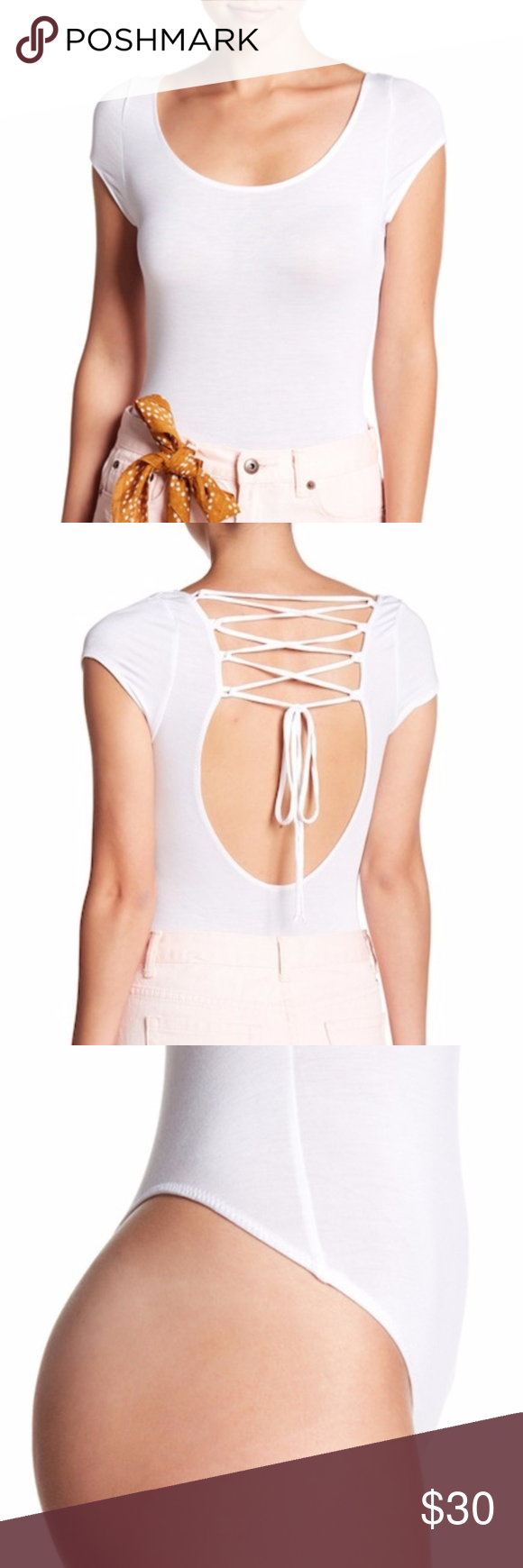 Lace up back bodysuit  FREE PEOPLE All About the Back Bodysuit SMALL Ultra thin and