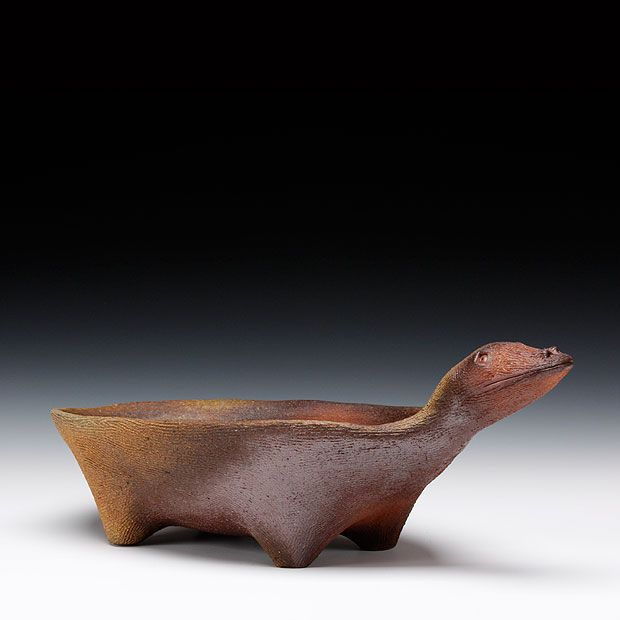 Simon Levin Description: wood fired stoneware Dimensions: 6.25x17x8.25 $160.00 ID From the Schaller gallery  #stoneware #animal #love #texture #woodfire #handbuild #feet #form