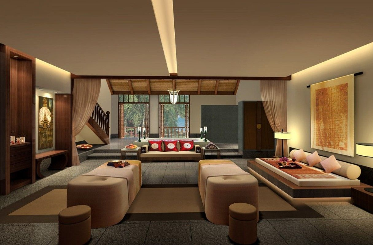 contemporary japanese living room interior design with unique cream sofa idea - Japanese Interior Designs