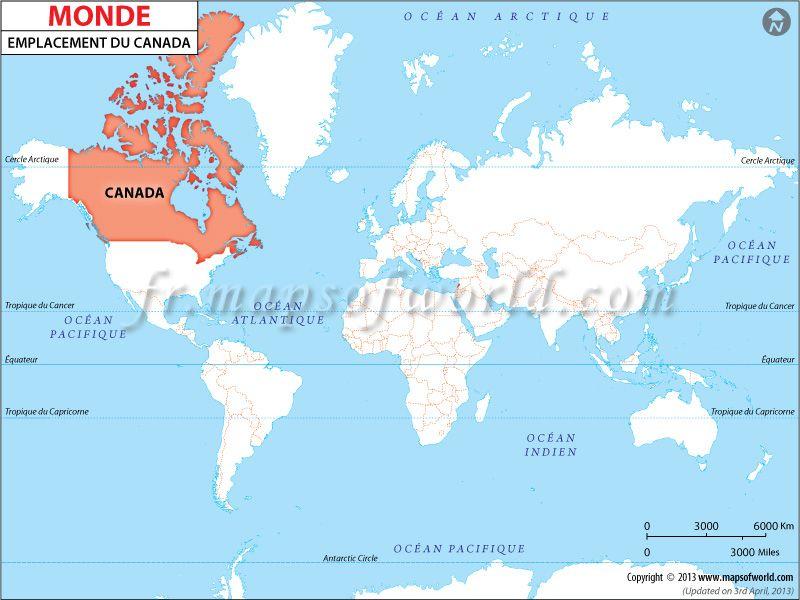 Ou Est Le Canada Le Canada Dans Le Monde Carte Du Monde Carte Carte Mondial
