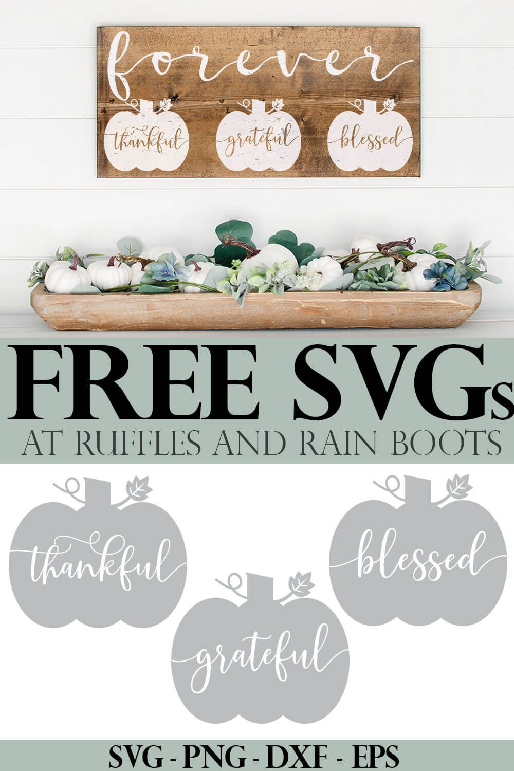 I love these fun pumpkin cut files for Cricut or Silhouette. They're just so perfect for making fall farmhouse decor. Click through to get the free fall SVGs to make awesome crafts! #svg #freesvg #cricut #cutfiles #silhouette #fall #fallsvg #pumpkincutfile #pumpkinsvg #rufflesandrainboots