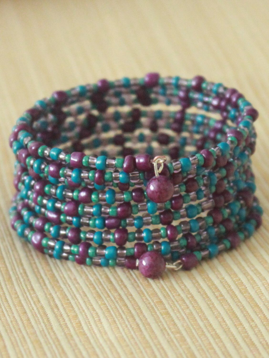Seed Bead Memory Wire Bracelet With