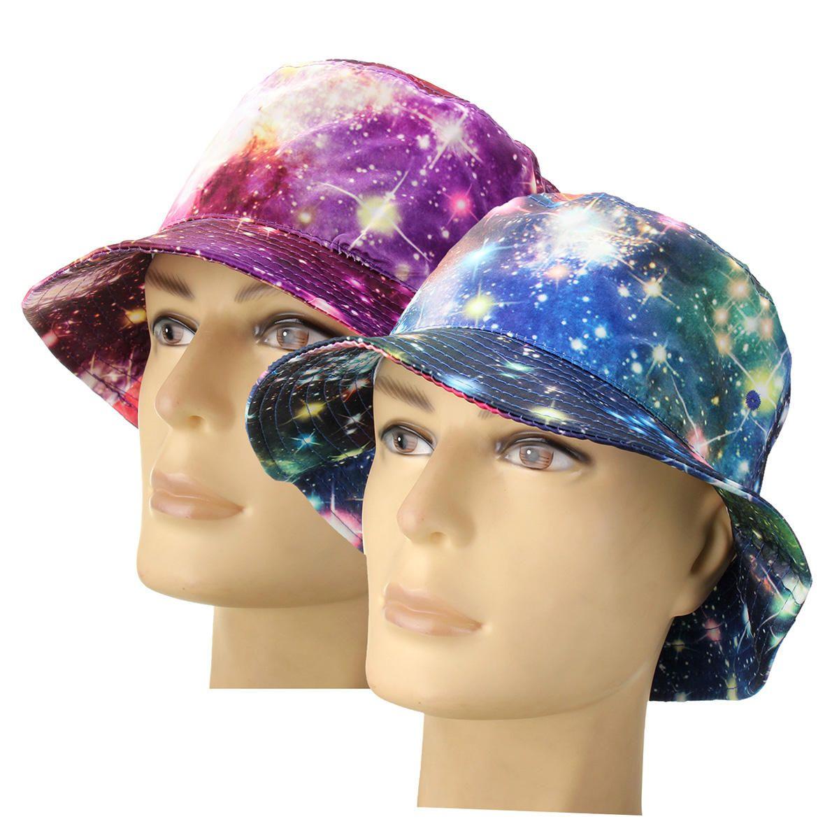 5a8f4d49a58 Unisex Men Women Galaxy Starry Sky Bucket Hunting Fishing Outdoor Cap  Summer Beach Hats