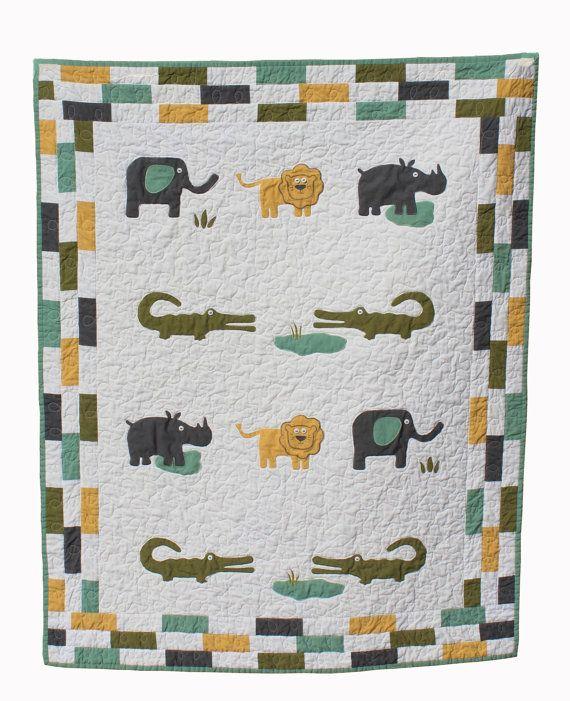 baby boy quilt, jungle theme, elephant, baby boy quilt pattern ... : jungle theme baby quilt patterns - Adamdwight.com