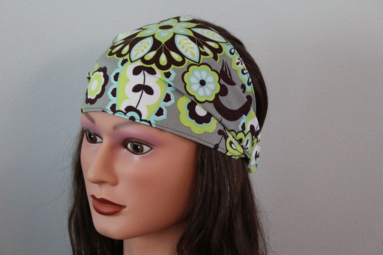 grey flower headscarf, yoga headband, headcover, hair band, wide headband, bandana headband, workout head band. $14.95, via Etsy.