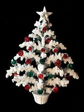 Rare  Old  White  Christmas  Tree  Pin  - Signed  LISNER