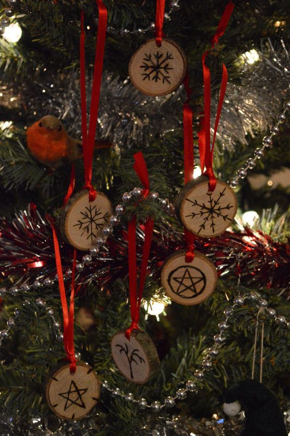 Six Yule Tree Decorations Pendants Hand by ...