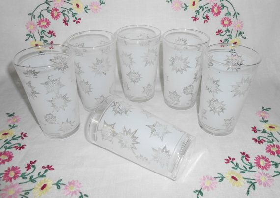 Federal White Satin Frost SNOWFLAKE Beverage Glasses by WeBGlass
