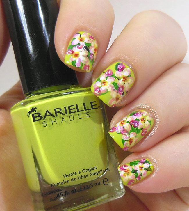 apple blossom floral nail art | Fun Nails | Pinterest | Uñas flores ...