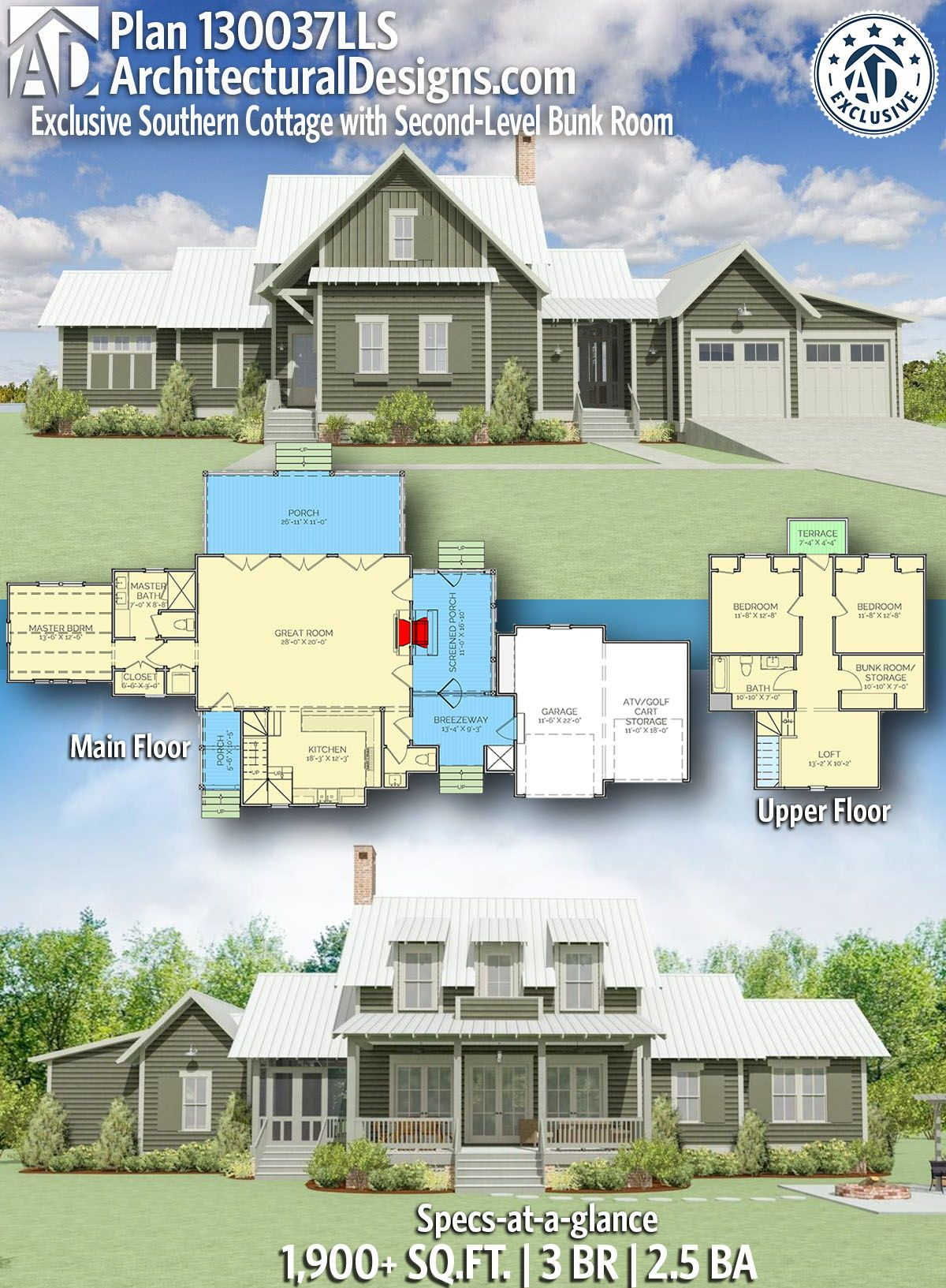 Plan 130037lls Exclusive Southern Cottage With Second Level Bunk Room Southern Cottage House Plans Farmhouse Exclusive House Plan