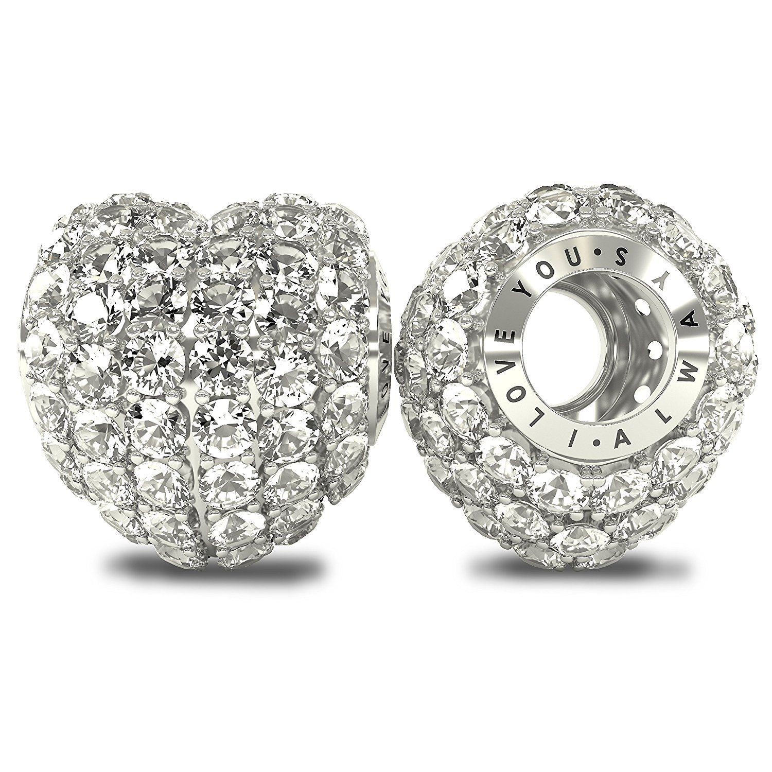 Solid 925 Sterling Silver Wheel with Pink CZ Charm Bead