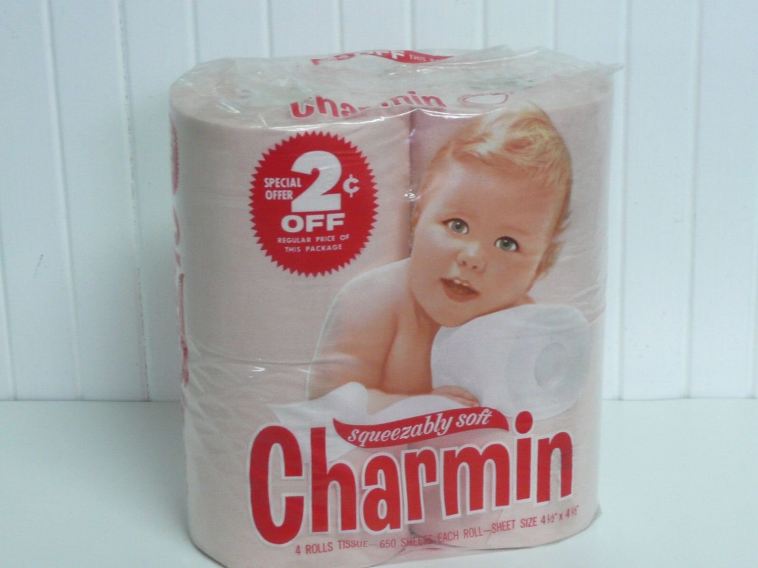 Nos vintage pink toilet tissue paper charmin squeezably