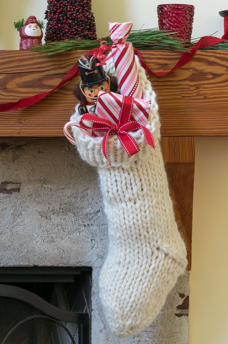 Chunky Knit Christmas Stocking Pattern | Knitted christmas ...