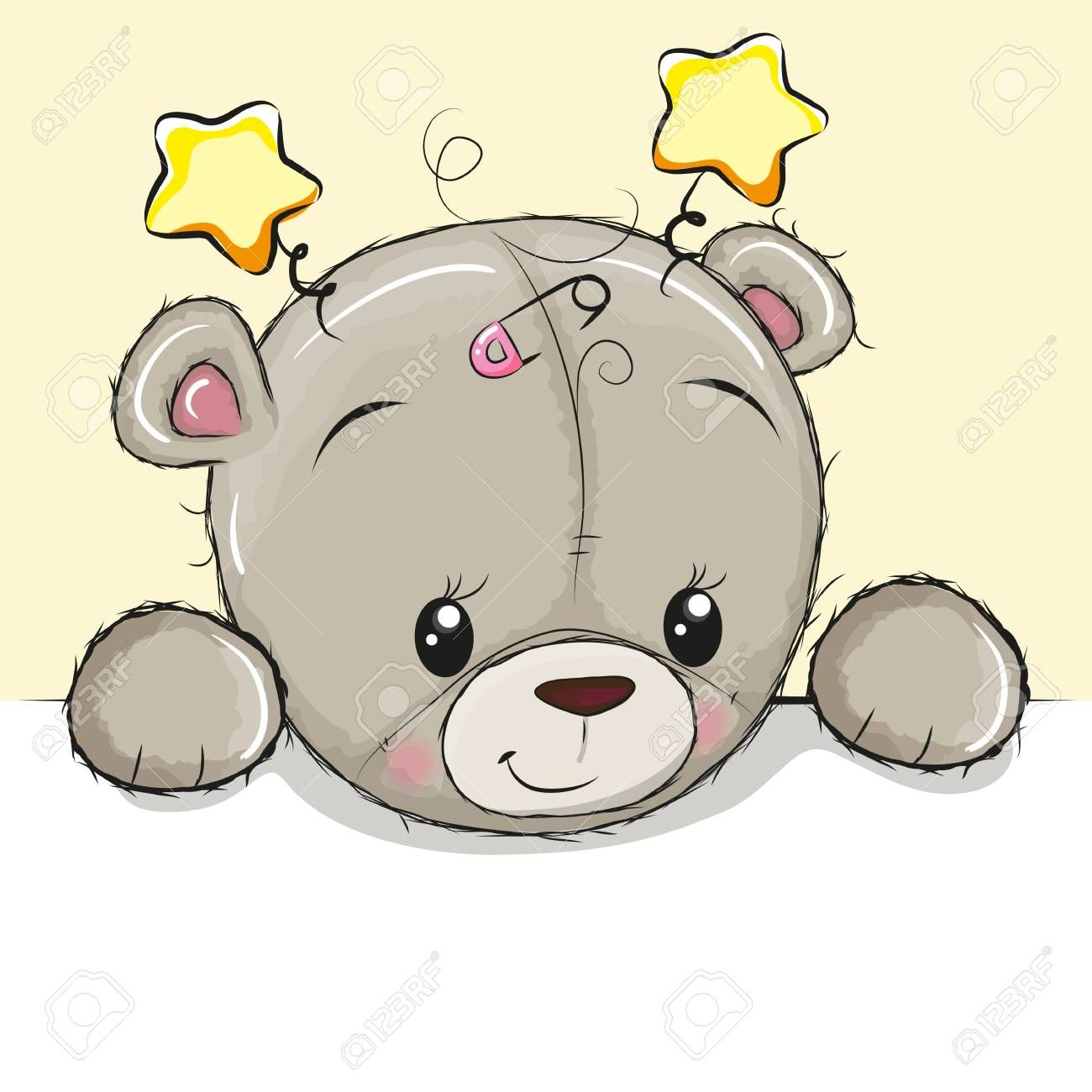 Cute Drawing Teddy Bear On A Yellow Background Teddy Bear Drawing Cute Drawings Teddy Drawing