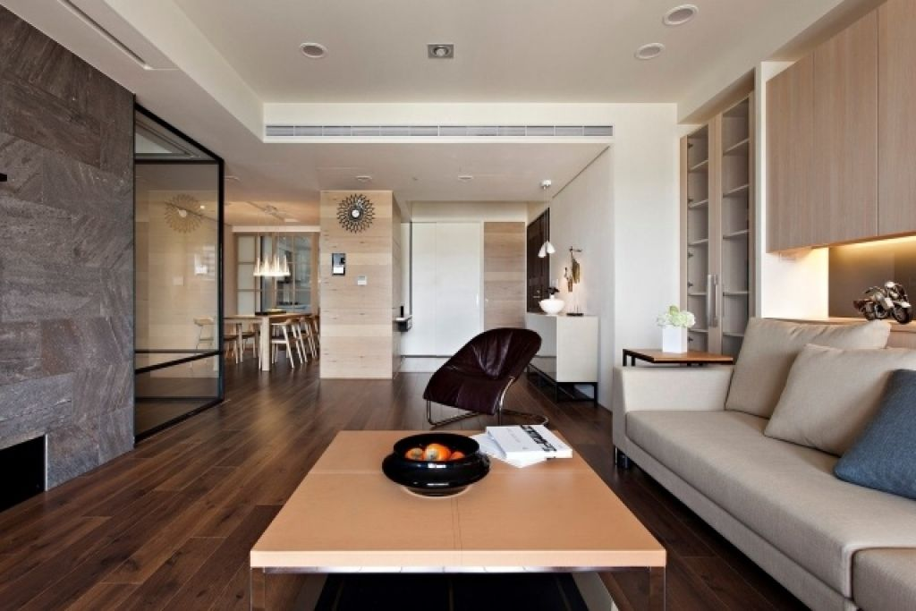 wohnzimmer einrichtung modern wohnzimmer modern holzboden graubraunes sofa couchtisch wohnzimmer. Black Bedroom Furniture Sets. Home Design Ideas