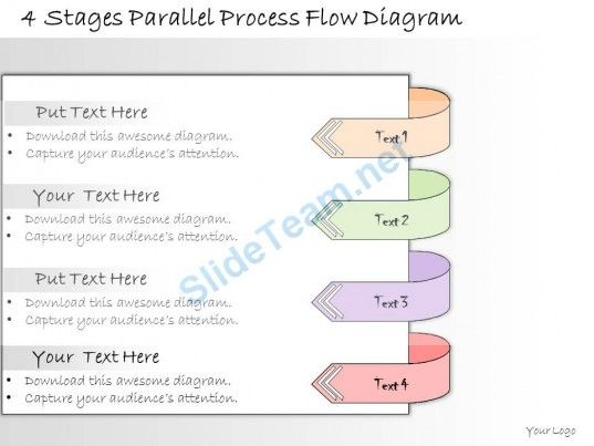 1013 Business Ppt Diagram 4 Stages Parallel Process Flow Diagram - flowchart template word