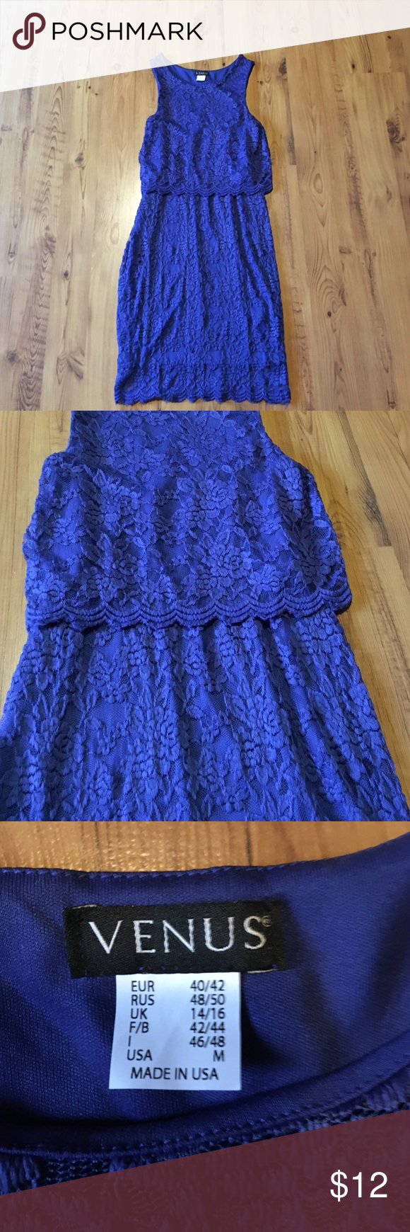 Beautiful blue dress! Never been worn blue dress with floral detail! This dress was purchased for a wedding but was too tight for me. It's a medium but fits more like a small. It has a beautiful overlay and the top layer goes about an inch or so past the underlining. Very pretty! Venus  Dresses Wedding