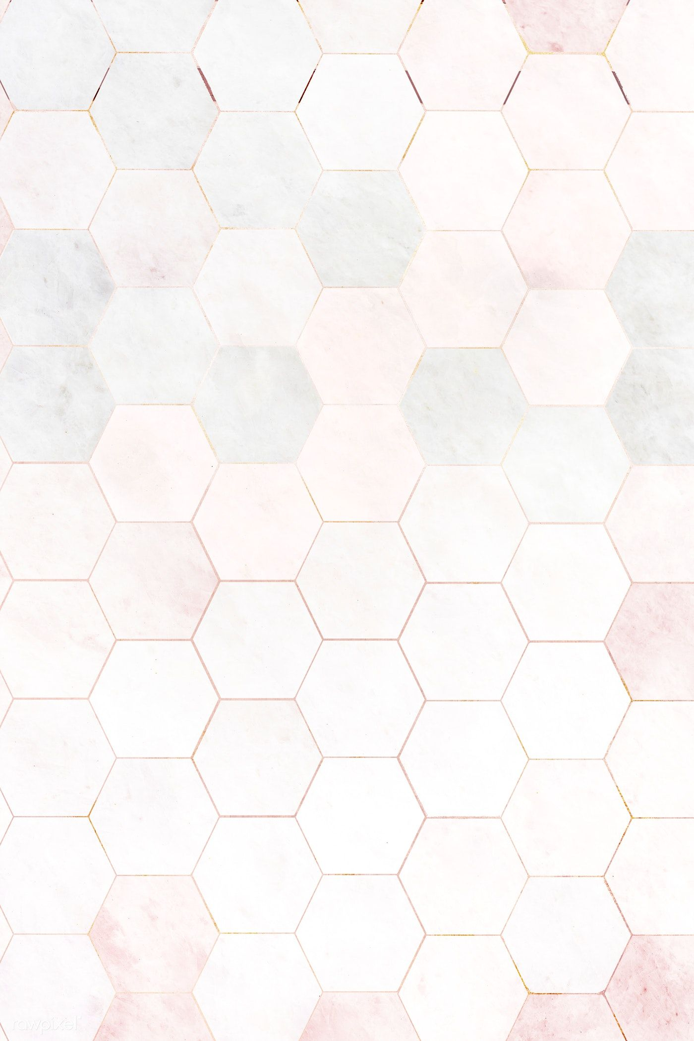 Hexagon Pink Marble Tiles Patterned Background Free Image