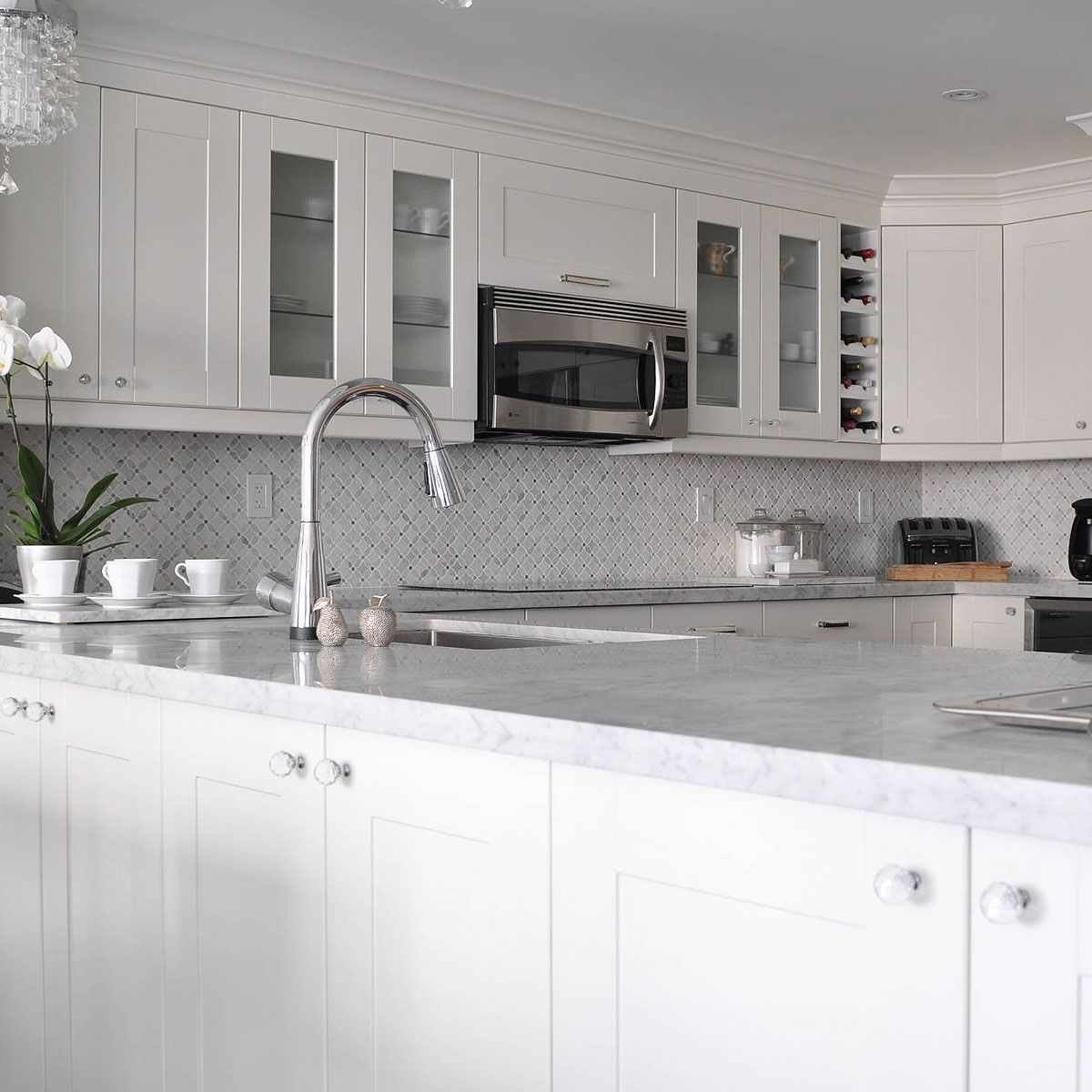 - White Gray Marble Flower Mosaic Tile Backsplash.com Kitchen
