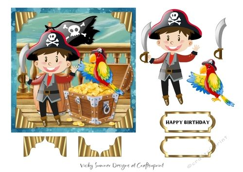 """Shiver me Timbers  6x6"""" topper with elements  PU/CU allowed for hand made items"""
