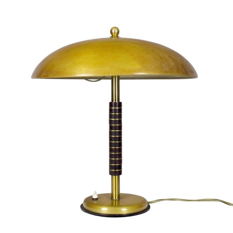 1950s Desk Lamp With Wood And Brass Rings Brass Lampshade