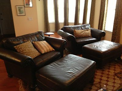 Bernhardt Leather 2 Chairs And A Half With Ottomans Good Condition