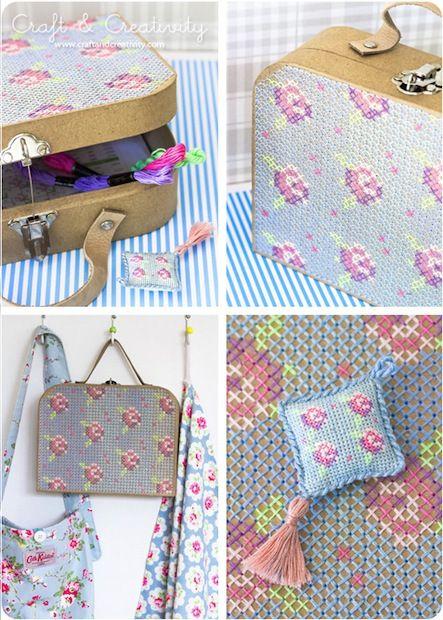 How-To: Cross-Stitch Papier-mâché Suitcase