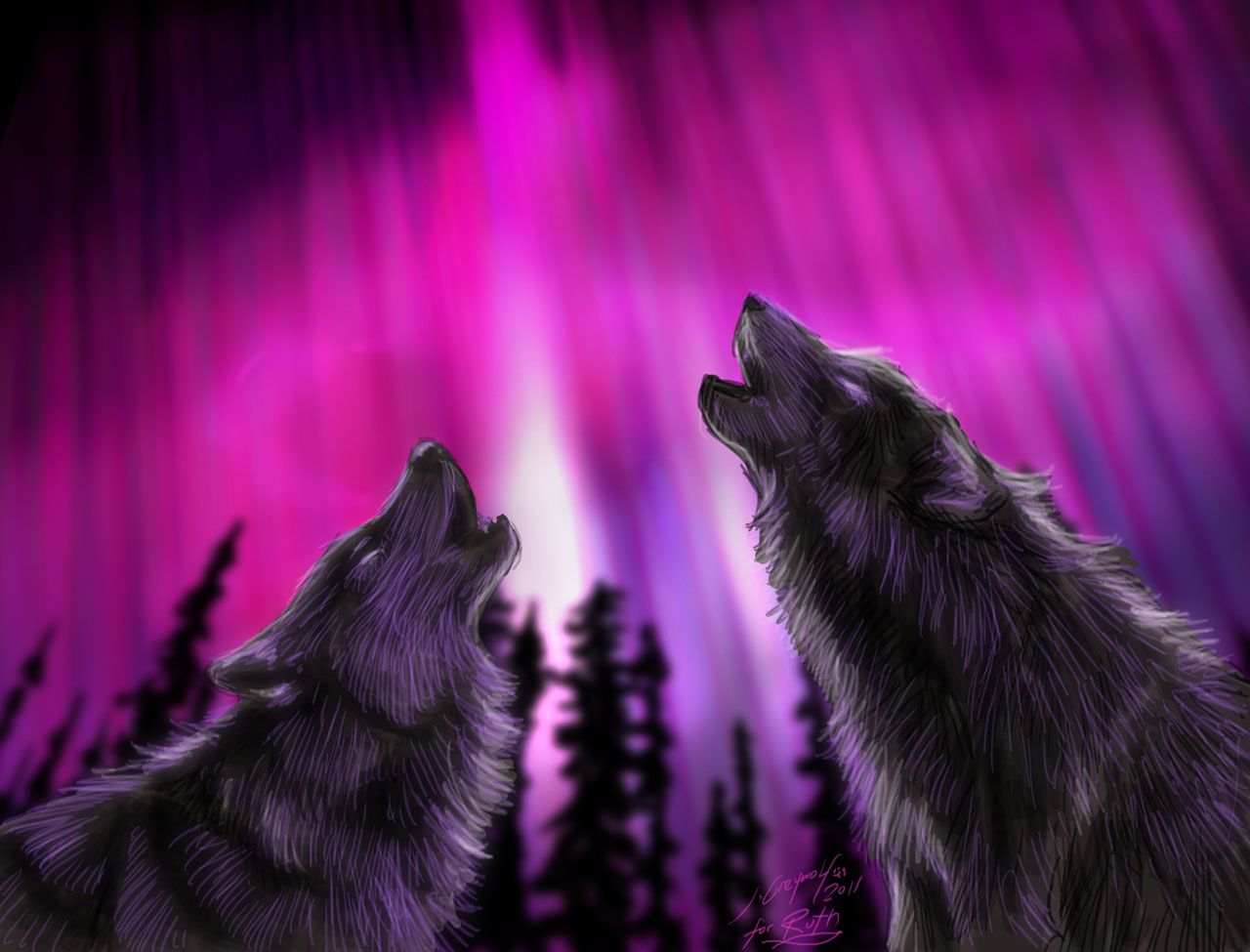 real northern lights wolf-#38