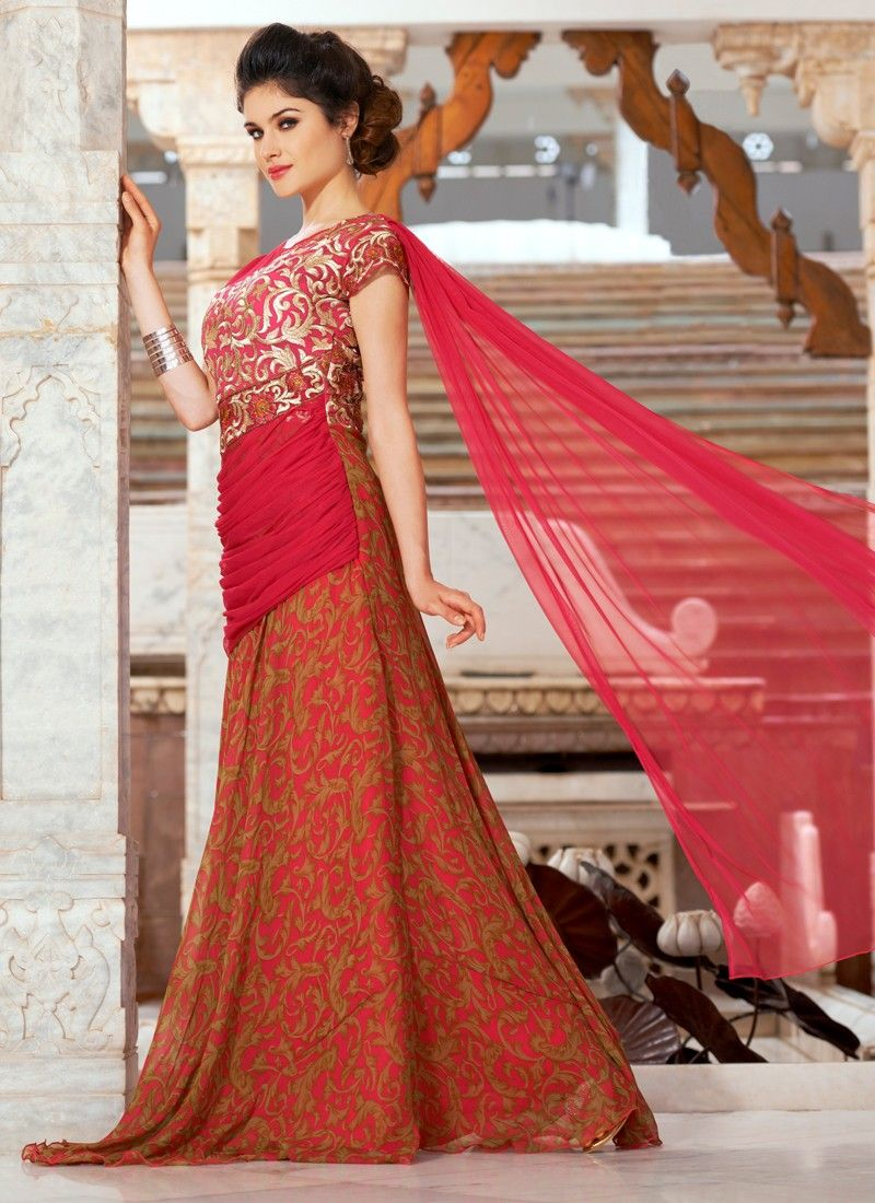 Fabulous Red Coloured Georgette Embroidery Work Indian Designer Gown ...