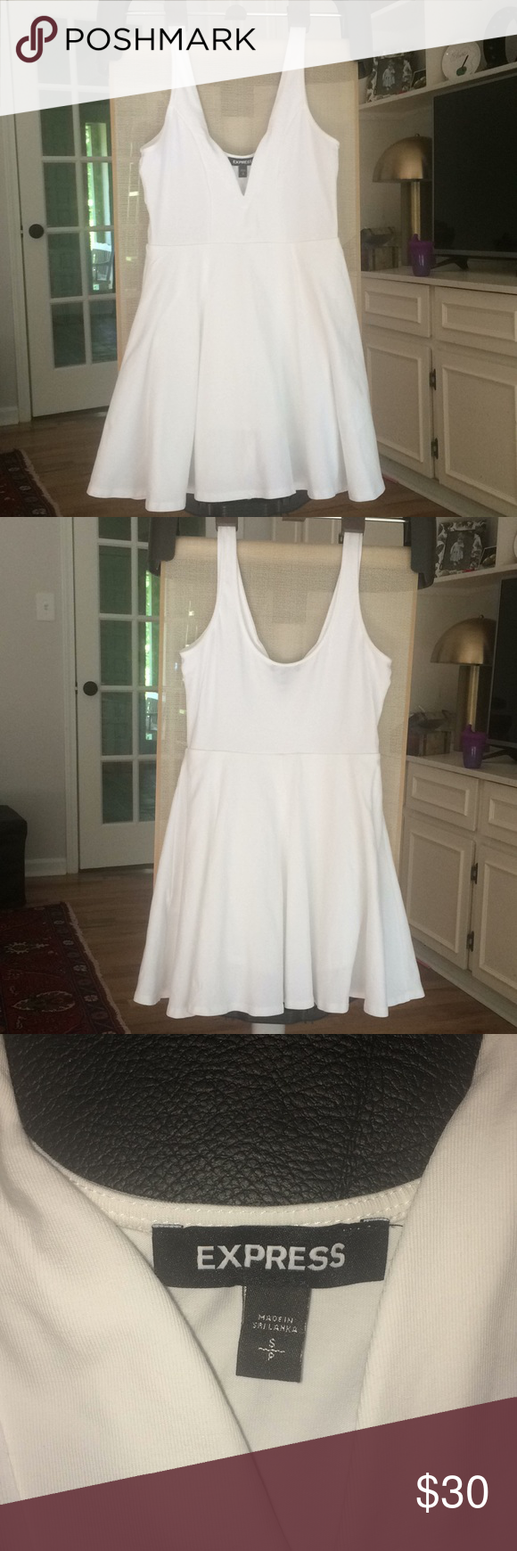 b03c7c1dd27c White Deep V-Wire Fit And Flare Skort Dress Small This white flirty fit and flare  dress has a deep v-wire neckline