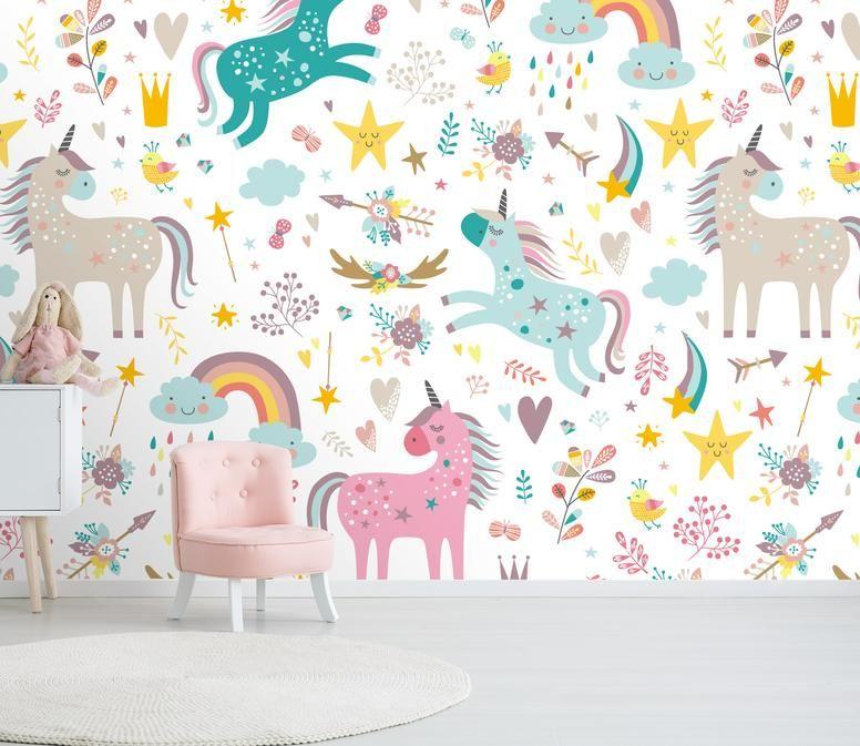 Unicorn Cartoon C 0433 Mxy Wallpaper Kids Bedroom Wallpaper Kids Room Wallpaper Kids Wallpaper