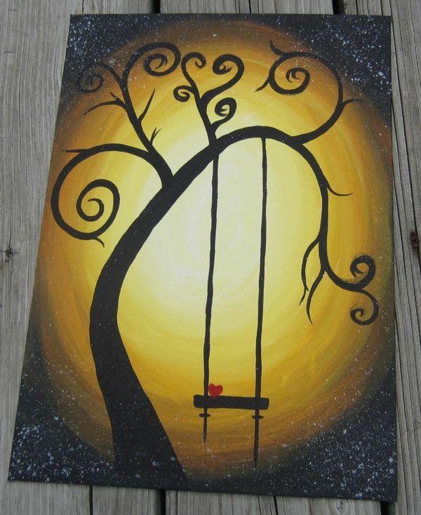 Diy Liebevoll Herz Moderne Leinwandbilder Baum Schaukel