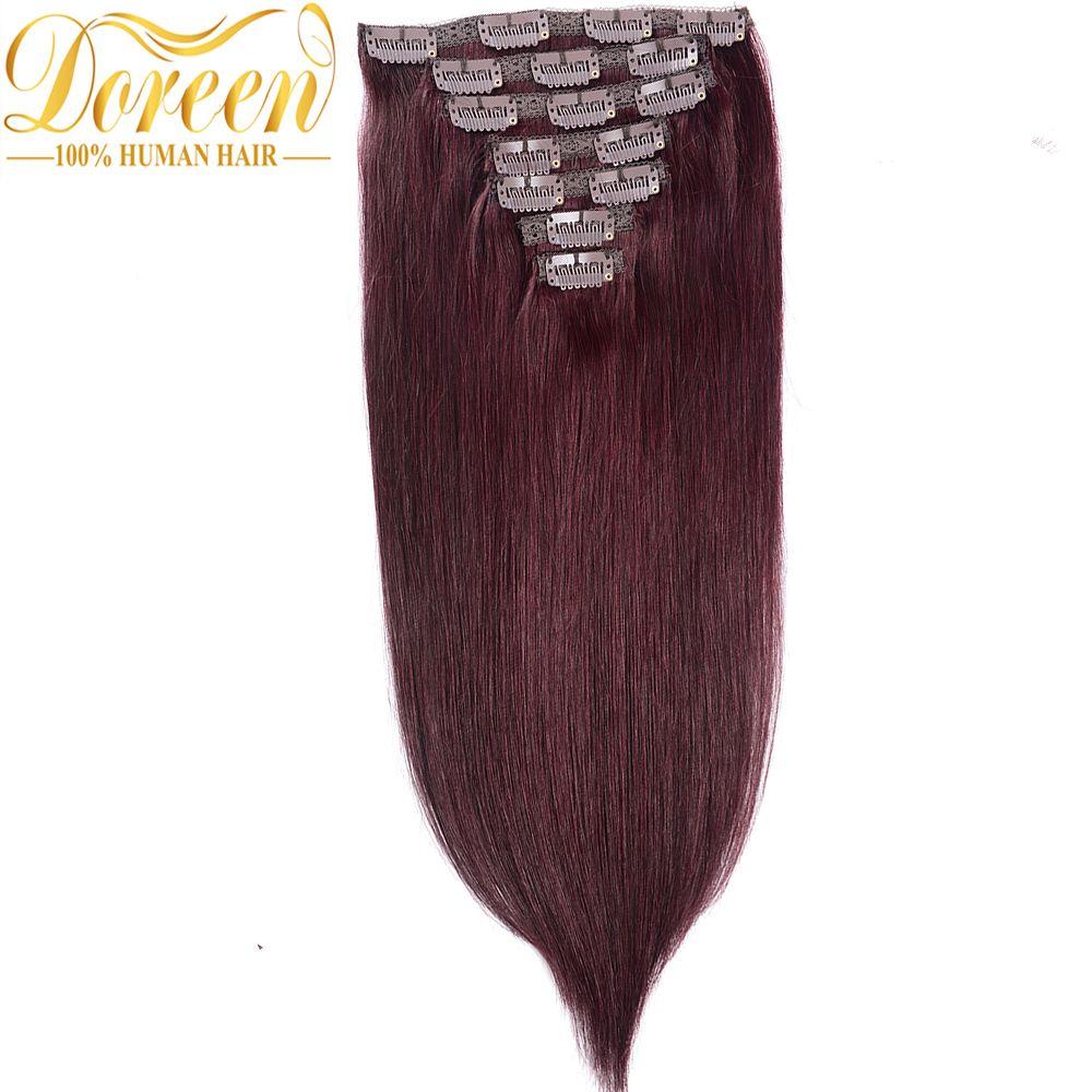 Free Shipping Buy Best Doreen 99j Dark Wine Red 120g Clip In Human