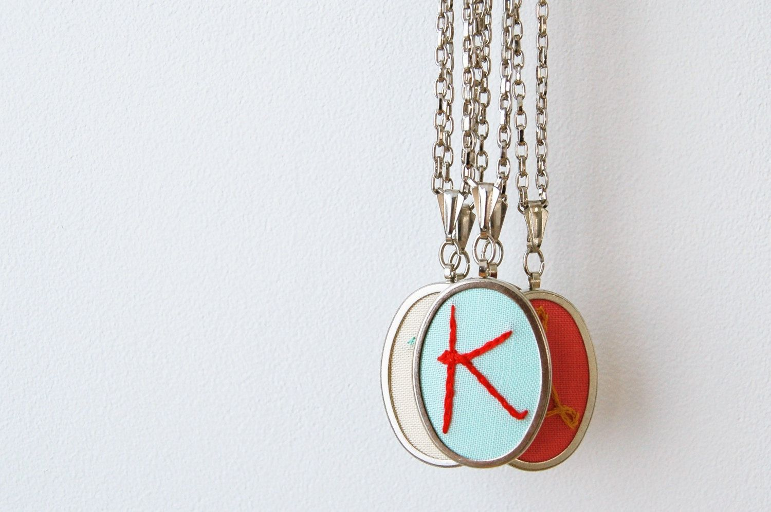 Embroidered Initial Necklace --- 20 INCH CHAIN ---. $41.00, via Etsy.