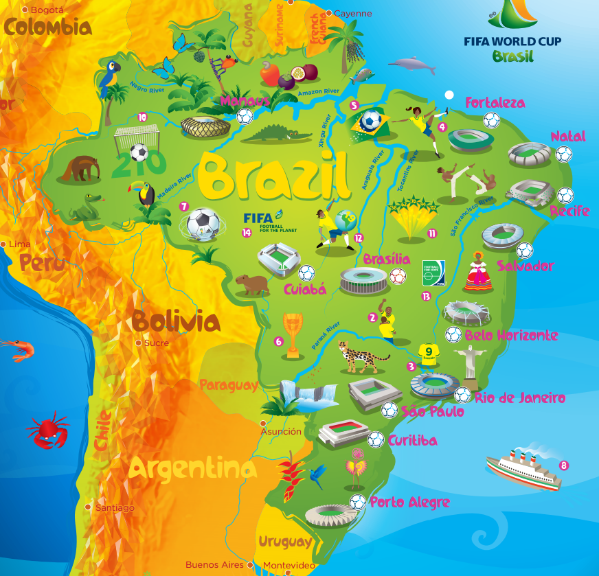 Wayfinding This Image Of The World Cup From In Brazil Shows - Map of brazil with cities